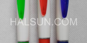 White Barrel Translucent Clip Silver Trim Promotional Pens